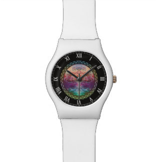 Tranquility Tree of Life in Rainbow Colors Wrist Watch