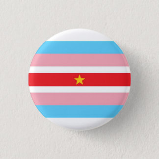 Trans* flag with red flag, yellow star 1 inch round button