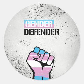 Trans - Gender Defender - - LGBTQ Rights -  Classic Round Sticker
