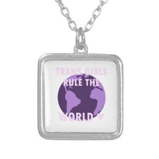 Trans Girls Rule The World (v1) Silver Plated Necklace