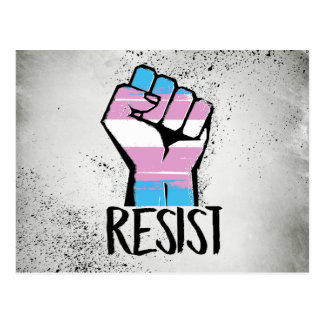 Trans Resistance - Trans Flag and Fist - Resist -  Postcard