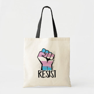 Trans Resistance - Trans Flag and Fist - Resist -  Tote Bag