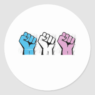 Trans Resistance - Trans Flag and Fist - Trans Pri Classic Round Sticker