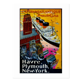Transatlantic French Line Postcard