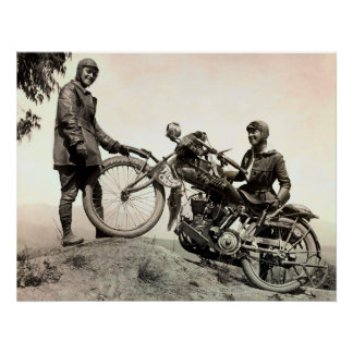 TRANSCONTINENTAL SISTERS by MOTORCYCLE 1916 Poster