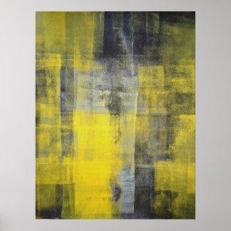 'Transform' Black and Yellow Abstract Art Print