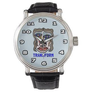"""Transform"" Mens Black Vintage Leather Watch"