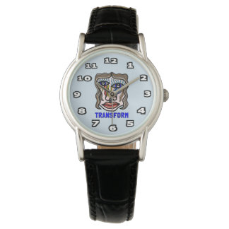 """Transform"" Womens Classic Black Leather Watch"