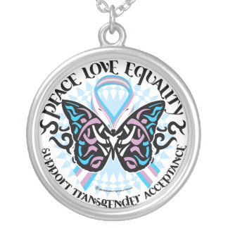 Transgender Butterfly Tribal Silver Plated Necklace