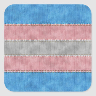Transgender Denim Flag Square Sticker