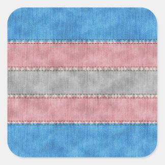 Transgender Denim Flag Square Sticker