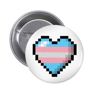 Transgender Pixel Heart 2 Inch Round Button