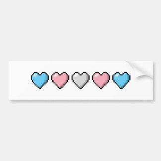 Transgender Pixel Hearts Bumper Sticker