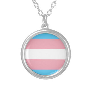Transgender Pride Flag - LGBT Trans Rainbow Silver Plated Necklace