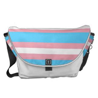 Transgender Pride Flag Pink Blue and White Courier Commuter Bag