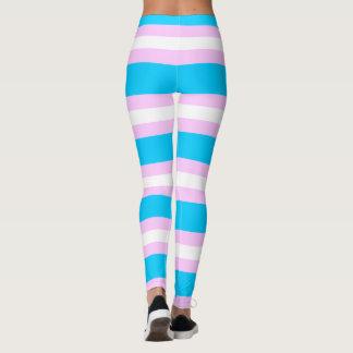 Transgender Pride Flag - Pink, Blue, White Stripe Leggings