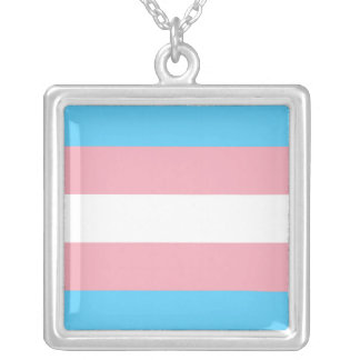 Transgender Pride Flag Silver Plated Necklace