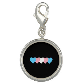 Transgender pride hearts charms