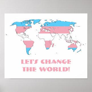 Transgender pride world map poster
