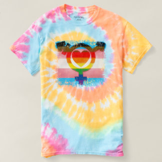 Transgender Trans Symbol with Heart Destroyed Look T-shirt