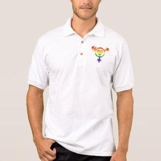 Transgender Trans Symbol with Heart Small Emblem Polo Shirt
