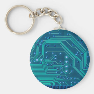 TRANSHUMANISM: Abstract BLUE circuit pattern. Basic Round Button Keychain