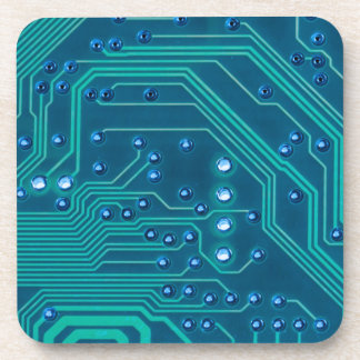 TRANSHUMANISM: Abstract BLUE circuit pattern. Beverage Coasters