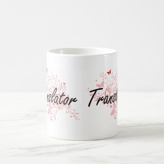 Translator Artistic Job Design with Butterflies Coffee Mug
