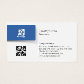 Translator Blue Tab Logo Simple Business Card