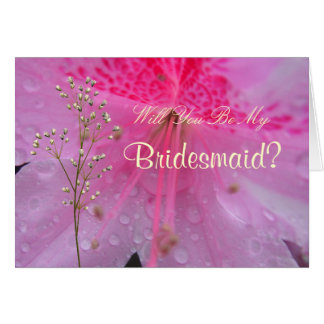 Translucent Pink Bridesmaid Request Greeting cards