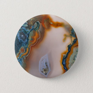 Translucent Teal & Rust Agate 2 Inch Round Button