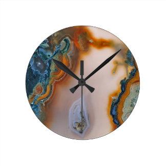 Translucent Teal & Rust Agate Round Clock
