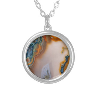 Translucent Teal & Rust Agate Silver Plated Necklace