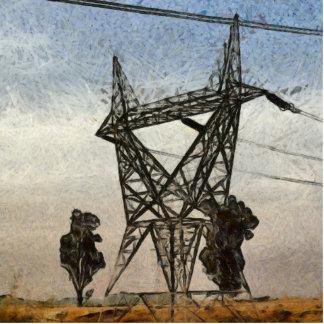 Transmission tower photo sculpture button