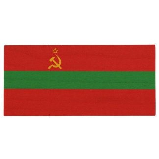 Transnistria Flag Wood USB Flash Drive