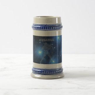 Transparent Aquarius Beer Stein