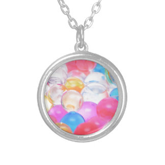 transparent balls silver plated necklace