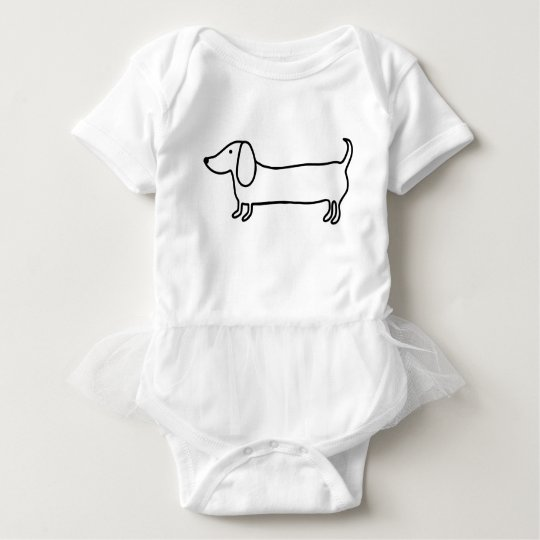 Transparent black dachshund illustration baby bodysuit