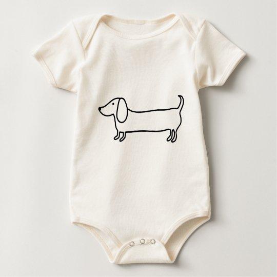 Transparent black dachshund illustration baby bodysuit
