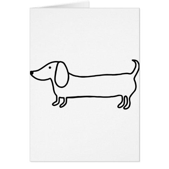 Transparent black dachshund illustration card