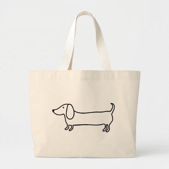 Transparent black dachshund illustration large tote bag