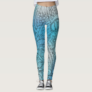 transparent black zen light pattern2 blue gradient leggings