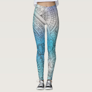transparent black zen light pattern blue gradient leggings