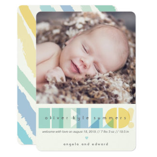 Transparent Blue Hello Photo Birth Announcement