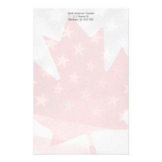 Transparent Canada and USA flags fade Stationery