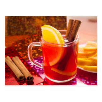 Transparent cup of tea with citrus, cinnamon postcard