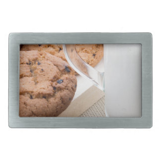 Transparent cup with milk and oatmeal cookies rectangular belt buckles
