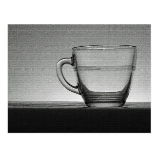 Transparent glass cup backlit postcard