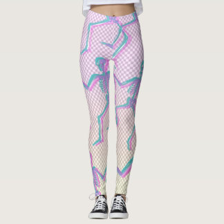 TRANSPARENT GRID SKELETONS LEGGINGS