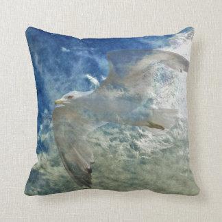 Transparent Gull and Clouds Modern Art Design Throw Pillow